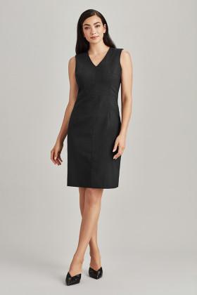 Sleeveless V Neck Dress (Poly/Wool)