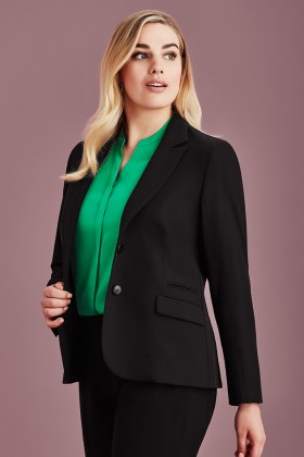 Mid Length Ladies Two Button Jacket (Poly/Viscose)