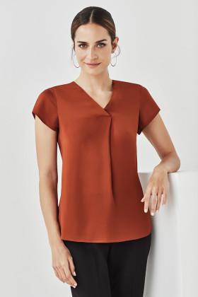 Kayla V-neck Pleat Ladies Cap Sleeve Blouse