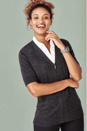 Zip Front Ladies Short Sleeve Knit