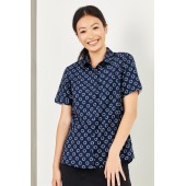 Easy Stretch Daisy Print Ladies S/S Shirt