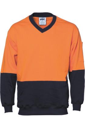 Hi Vis Two Tone Cotton Fleecy Sweat Shirt V-Neck