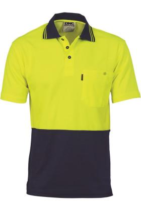 Hi-Vis Cotton Backed Short Sleeve Polo Top