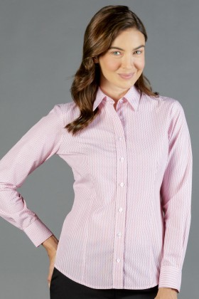 Carson Dobby Stripe Ladies L/S Shirt