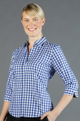 Degraves Royal Oxford Gingham Ladies 3/4 Shirt