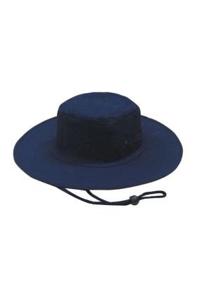 Wide Brim Canvas Hat With Chin Strap