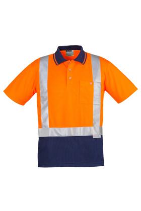 Hi Vis Spliced Mens Polo - Short Sleeve Shoulder Taped